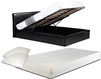 4ft6 Double Black Ottoman Lift Up Storage Faux Leather Bed + 10 Inch Deep Memory Foam Mattress + FREE Memory Foam Pillows - Also available in Brown or White - Master Bedroom Childrens Bedroom Teens Bedroom Guest Bedroom - Perfect for storing Shoes DVD's B