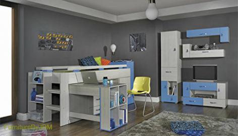 Children/Kids Furniture Set Composition KOMI System B. Medium High Sleeper (mattress not included) with Desk, Wall-mounted Shelve, Free Standing Door/Drawers Unit, TV Table.