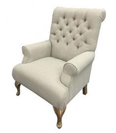 Club Chair Edwina Natural Linen Cream