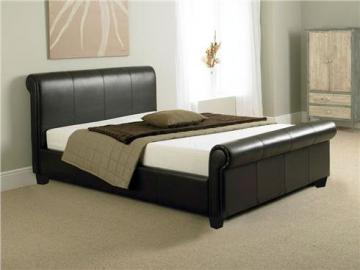 NEW 5ft BROWN FAUX LEATHER SLEIGH KING SIZE SCROLL BED AND 1200 COUNT POCKET SPRUNG MATTRESS
