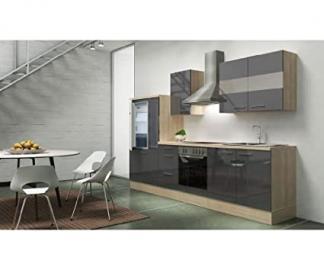 Respekta Kitchen Unit Empty 300cm Acacia Replica High-Gloss Grey Acacia APL Wood
