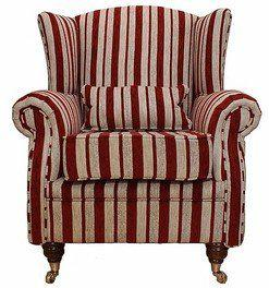 Wing Chair Fireside High Back Armchair Ruby Stripe