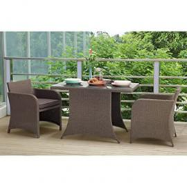 Kettler Hampshire Compact Balcony Set Rattan Two Chairs with Taupe Cushions and Table