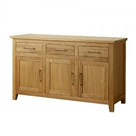 1home Harold Solid Oak Sideboard 3 Doors-3 Drawers Home Furniture