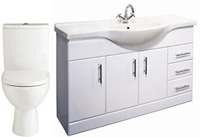 1200mm White Vanity Unit & Basin and Piccolo Closed Coupled Toilet