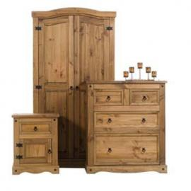 CORONA DISTRESSED PINE 3-PIECE BEDROOM SET INCLUDING A 1 DOOR 1 DRAWER BEDSIDE CABINET, A 2 DOOR WARDROBE AND A 2+2 DRAWER CHEST FROM CENTURION PINE