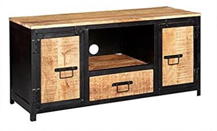 Indian Hub Cosmo Industrial Plasma Media Unit, Natural Wood/Dark Metal, Large
