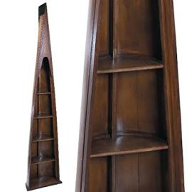 ProPassione Oxford Man of Eight Bookcase, antique design, walnut colored, 4 shelves, h 216.5 x w 46.5 x d 25 cm