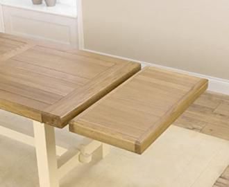 Country Painted solid oak furniture dining table extensions
