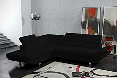 BELA large modern black faux leather corner sofa couch living room furniture