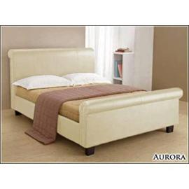 Time Living Aurora 5ft King Size Cream Faux Leather Bed Bed Frame Only