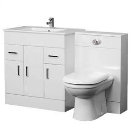 Minimalist 800mm Gloss White Bathroom Vanity Furniture Storage Unit One Tap Hole Basin Sink and Back to Wall Toilet