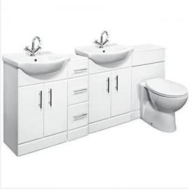 2250mm Double Bathroom Set 650 Vanity Unit & WC Storage