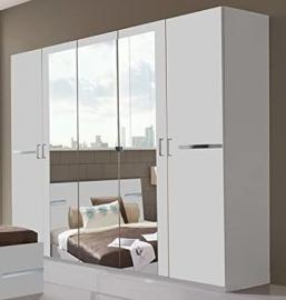 Germanica BAVARI 5 Door White Wardrobe With 3 Mirrored Doors Lots or Storage Space 225cm Width [Includes Full Assembly Service]