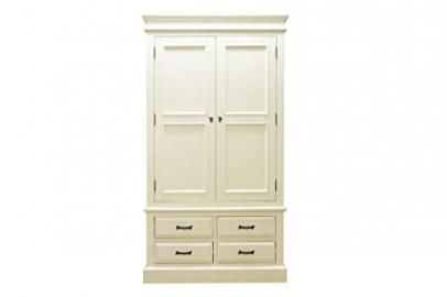 Nice French antique 2 Door 4 Drawer Wardrobe off white