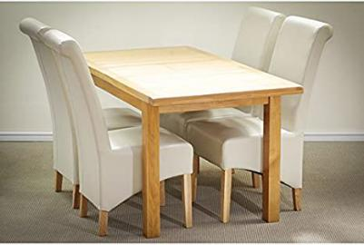 Dining Room Bundle - Miami Oak 1.2m to 1.5m Extending Dining Table - Solid Oak matched with 4 Beautiful Chairs in Bonded Leather or Tweed Fabric … (Cream, Bonded Leather)