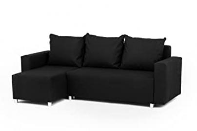 Oslo Corner Sofa Bed with Underneath Storage in Black Linen Fabric - Left