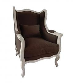 Antique wingchair vintage provencal retro brown fabric white french country