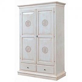 Wardrobe 2Doors 2Drawers Antique White Carved–codluis 1088