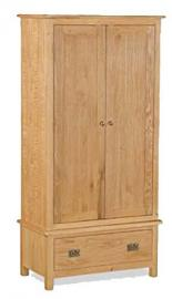 New Evesham Oak Gents Wardrobe Solid Wood