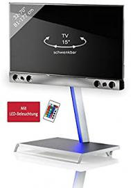 "VCM ""Sbm100"" TV-Pedestal Plus Soundbar and Holder, White/Silver"