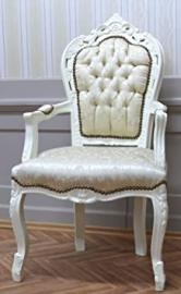 baroque armchair carved laquere and fabric in creme-white