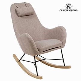 Sedia a dondolo di tela marrone by Craften Wood (1000026967)