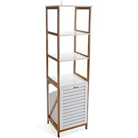 Contemporary Standing Bathroom Cabinet - Crafted From High Quality MDF, Bamboo, And Canvas - Provides 3 Shelves And 1 Movable Drawer