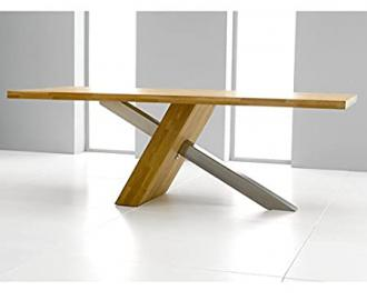 Mark Harris Montanna Solid Oak Dining Table With Brushed Steel Leg 195cm