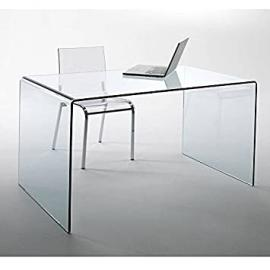 Glass Design Desk CHALET fromgebogenes Safety glass 120x60cm Home Office