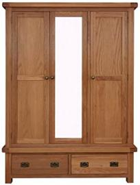 Kingsford Chunky Oak 3 Door Triple Wardrobe with Mirror - Assembled at No Extra Cost!