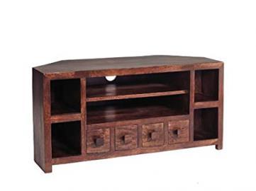 ML10 Ajak Mango Range - Mango Dark Wood Corner Tv Uint - Deep Walnut - Solid Indian Hardwood - No Assembly Required