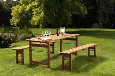 Collapsible Garden Furniture Set in Bavarian Beer Garden Style Length 200cm