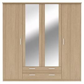 Bronte 4 Door 2 Drawer Mirrored Wardrobe - Oak Effect