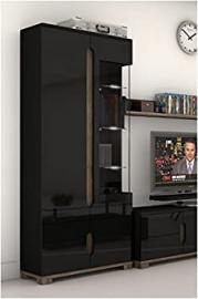Lorenz High Gloss BLACK Display Cabinet 1 Glass Door (P980LS22) by furniturefactor