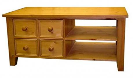 Wye Pine Bespoke Tv Unit with CD Drawers - Finish: Lacquer - Stain: Waterbased