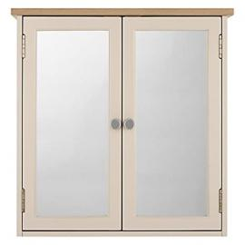 Croft Collection Blakeney Double Mirrored Bathroom Cabinet, Putty