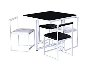 Simple Modern 5 Piece Dinette - Ideal For Small Spaces - Set Includes 1 Table And 4 Chairs - Beautiful Finish Combination Of Black And White
