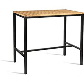 Bolero Wooden Square Poseur Height Table 1200mm Steel Frame. Robinia Wood Top. 1100(H) x 1200(W) x 600(D)mm