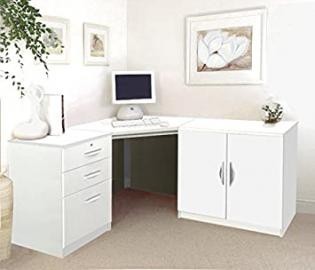 SET-13-IN-WH White Desk Cupboard Unit In Bedroom Table For Student Ideas Home Office Furniture UK Contemporary CD DVD Media Storage Child's PC Filing Cabinet Metal Dorm Combo