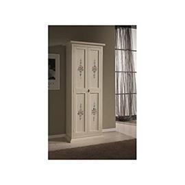 Wooden Shoe Storage Cabinet, 2 Doors, Arte Povera Style, Patterned, Ivory -