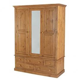 Country Solid Pine Triple Wardrobe with Drawers - Furniture