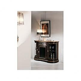 Antique Black Lacquer Display Cabinet Sideboard–Solid As Photo