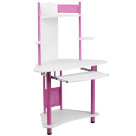 Pink Corner Computer Desk with Hutch