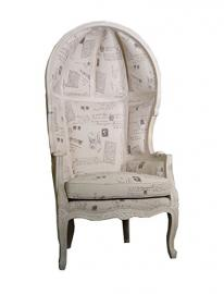 French chair armchair retro vintage wooden antique shabby chic country fabric