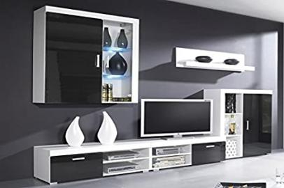 Black Gloss and White Matt Modern Wall Unit TV Stand, Shelves, Display Cabinets with LED - Perfect for Living Room/Bedroom/Studio Flat - Amazing Quality. Suitable for PLASMA/LED/LCD TVs