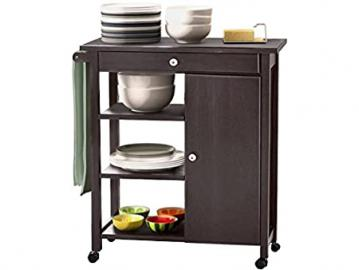 Lifestyle Design 637170Arizona Kitchen Trolley 85x 40x 80cm Rubber Wood/MDF Bemahlt, Top Panel, Black