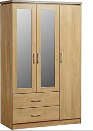 Spacious 3 Door Oak Wardrobe - Offers Multiple Shelves And 2 Spacious Drawers - Has 2 Mirrored Doors - Made From High Quality Materials