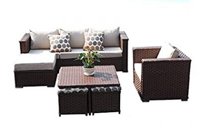 Yakoe Monaco 9 Seater Garden Furniture Patio Conservatory Rattan Outdoor Sofa Set with Coffee Table Chairs Stools - Brown