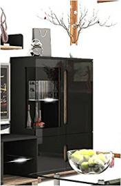 Lorenz High Black Gloss Low Display Cabinet (P908LS12) by furniturefactor